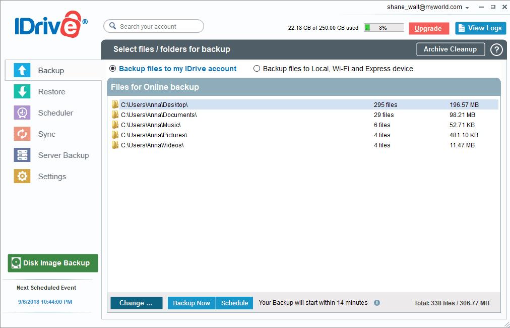 iDrive Windows Main Dashboard