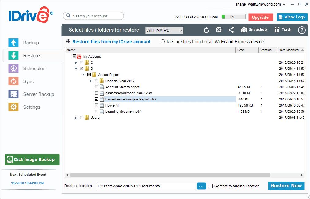 iDrive Windows Restore Selection