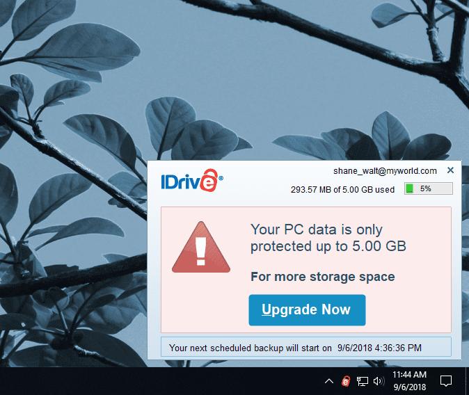 iDrive Windows Satus Alert Message